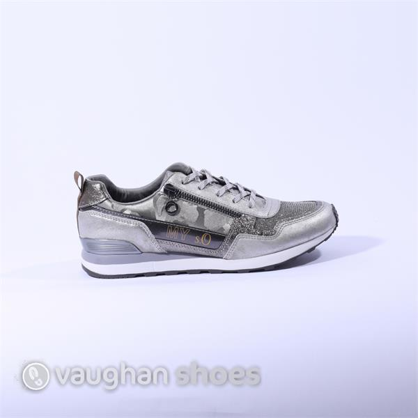 S. Oliver Trainer Side Zip Camo Sparkle - Pewter | Vaughan Shoes | Ireland